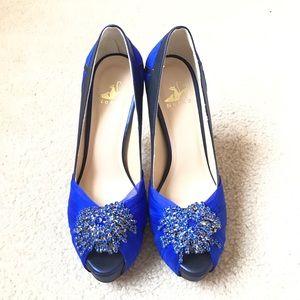 NEKKO Royal Blue with Crystal Platform Heels